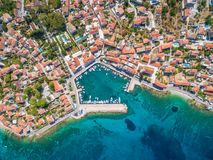 Aerial view of small harbour in the Adriatic Stock Photo