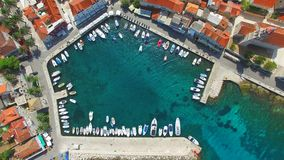 Aerial view of small harbour. stock video footage