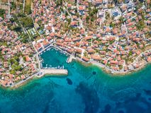 Aerial view of small harbour in the Adriatic Royalty Free Stock Photography