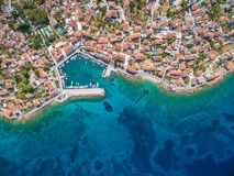 Aerial view of small harbour in the Adriatic. Stock Photos