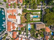 Aerial view of small harbour in the Adriatic Royalty Free Stock Photos