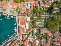 Aerial view of small harbour in the Adriatic. Stock Photo