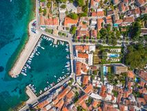 Aerial view of small harbour in the Adriatic Stock Photography
