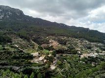 Aerial view of small hillside Banyalbufar town. Majorca, Spain royalty free stock image