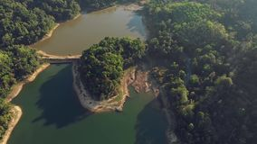 Aerial view on small island on bang wan lake in Phuket. stock footage