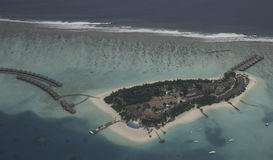 Aerial view of a small island, Maldives Royalty Free Stock Photography