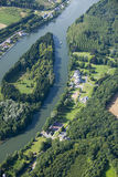Aerial view : Small island in a river. With a boat Royalty Free Stock Images