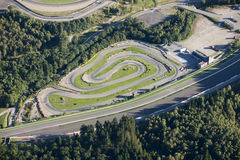 Aerial view : small karting racetrack. Along the Francorchamps circuit Stock Images