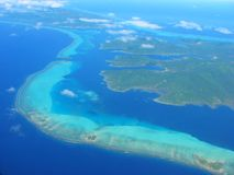 Aerial view on small lagoon, French Polynesia Royalty Free Stock Photography