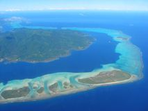 Aerial view on small lagoon, French Polynesia Royalty Free Stock Photos