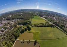 Aerial view of a small lake in the district of Buechenbach of the city of Erlangen Royalty Free Stock Photos