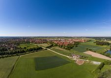 Aerial view of a small lake in the district of Buechenbach of the city of Erlangen Royalty Free Stock Photo