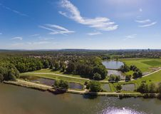 Aerial view of a small lake in the district of Buechenbach of the city of Erlangen Stock Photo