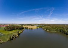 Aerial view of a small lake in the district of Buechenbach of the city of Erlangen Stock Images