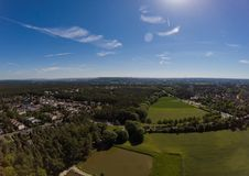 Aerial view of a small lake in the district of Buechenbach of the city of Erlangen Stock Photos