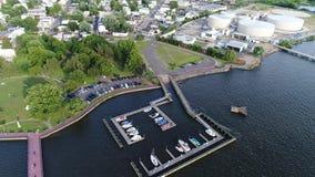 Aerial view small marina on the Delaware River near Philadelphia.  stock video