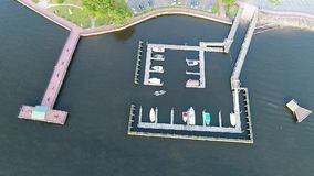 Aerial view small marina on the Delaware River near Philadelphia.  stock footage