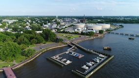 Aerial view small marina on the Delaware River near Philadelphia.  stock video footage