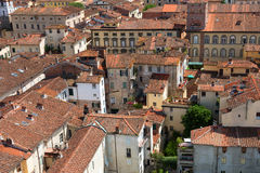 Aerial view of the small medieval town of Lucca, Toscana Tuscany, Italy, Europe. View from the Guinigi tower Stock Photography