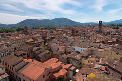 Aerial view of the small medieval town of Lucca, Toscana Tuscany, Italy, Europe. View from the Guinigi tower Royalty Free Stock Photo