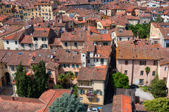 Aerial view of the small medieval town of Lucca, Toscana Tuscany, Italy, Europe. View from the Guinigi tower Stock Image