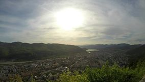 Aerial view of small mountain town stock footage