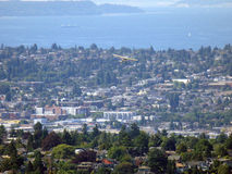 Aerial view of Small Plane Flies over Seattle Royalty Free Stock Photography