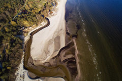 Aerial view of small river on Baltic sea beach, Latvia. Stock Photo