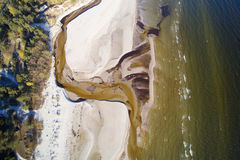 Aerial view of small river on Baltic sea beach, Latvia. Stock Images