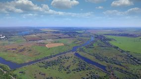 Aerial view of small river stock video