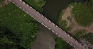 Aerial view of a small river in summer stock footage