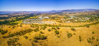 Aerial view of small rural settlement in Australia. Aerial panorama of small rural settlement in Australia Royalty Free Stock Photography
