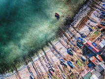 Aerial view of small rustic motor boat Royalty Free Stock Image