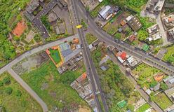 Aerial view of small suburban latin America town. Of Tungurahua Province, South America stock photography