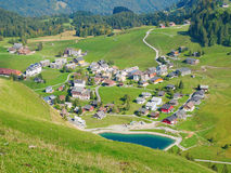 Aerial view of small swiss village Stock Photo
