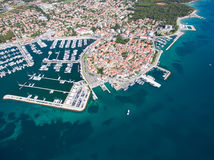 Aerial view of small town on Adriatic coast, Biograd na moru. Royalty Free Stock Images