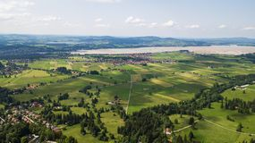 Aerial view of a small town in the Alpine mountains Royalty Free Stock Photography