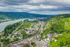 Aerial view of the small town Braubach and the Rhine Valley at R Stock Image