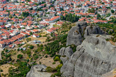 Aerial view of small town in Greece Stock Photography
