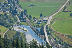 Aerial View of Small Town Life - Blanchard, WA Royalty Free Stock Images