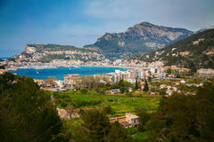 Aerial view of the small town Port de Soller Royalty Free Stock Photography
