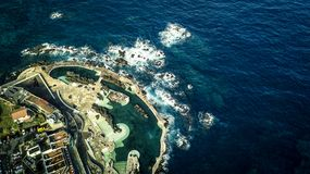 Aerial view on small town Porto Moniz. stock photo