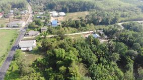 Aerial view of small town in rich environment. Thailand country, Trang. Explorer concept background stock footage