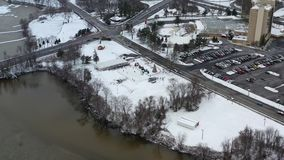 Aerial View Small Town After a Snowfall.  stock video