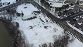 Aerial view small town after a snowfall.  stock video footage