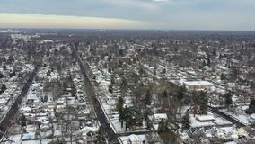 Aerial View Small Town After a Snowfall.  stock footage