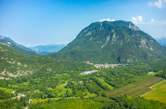 Aerial view on small village in mountains Stock Image