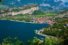Aerial view on the small village Nago-Torbole stock photos