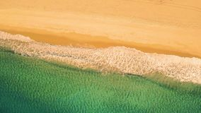 Aerial View Small Waves on Sandy Beach