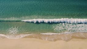 Aerial View Small Waves on Sandy Beach stock video footage